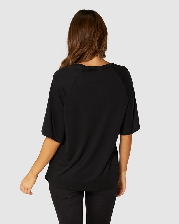 Brooklyn Beaded Oversized Tee - Black/Gold