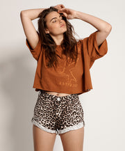 Bandits Mid Waist Shorts Animal Print | Shop OneTeaspoon at IKON NZ