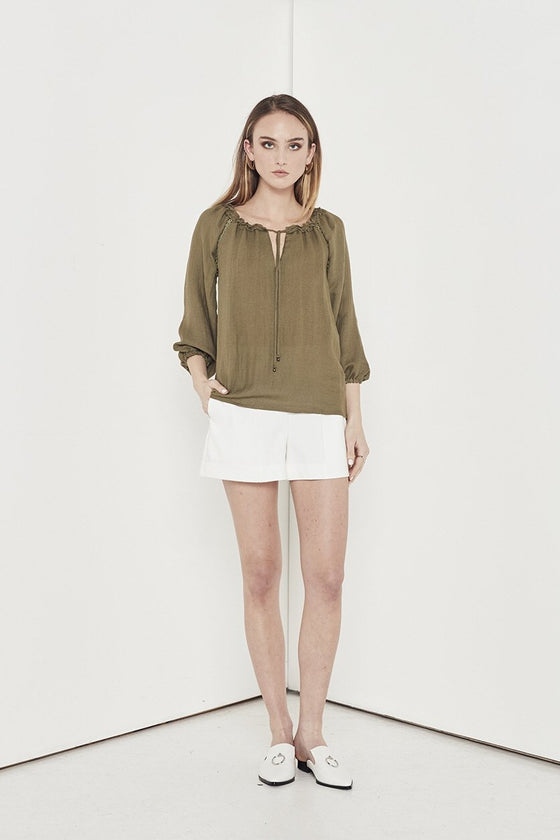Shilla Aspire Blouse | Khaki | Shop at IKON Arrowtown NZ