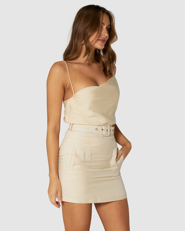 Amour Linen Cami Top - Butter Cream
