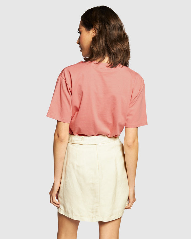 Embroidered Tee - Dusty Pink/Cream