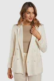 Freedom Linen Blazer - Cream/Tan