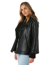 Luxe Aviator Jacket - Black