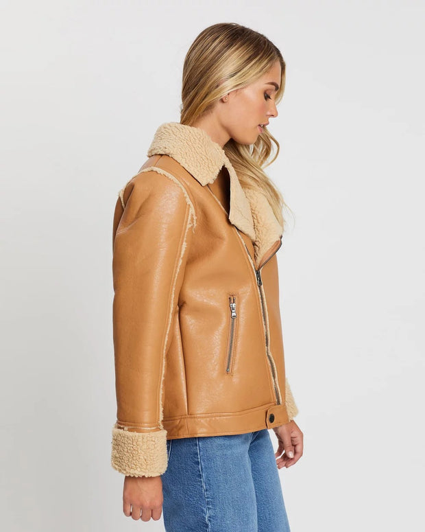 Luxe Aviator Jacket - Tan
