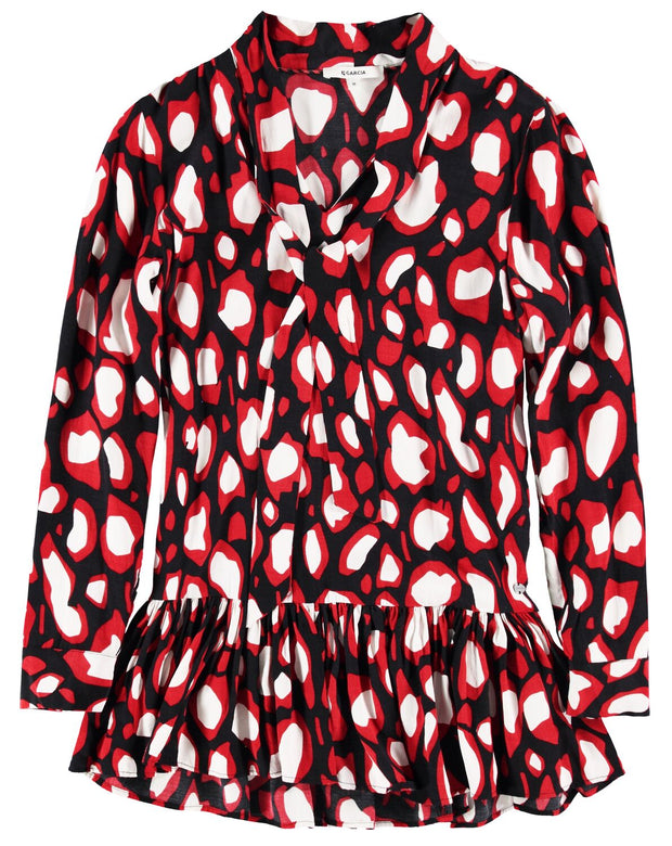 Womens Blouse - Red/Black