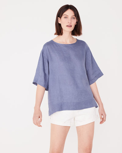 Boxy Linen Top Newport Blue