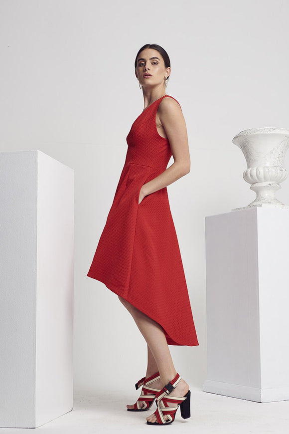 Shilla Calibre Hi-Lo Dress Poppy | Shop Shilla IKON Arrowtown NZ