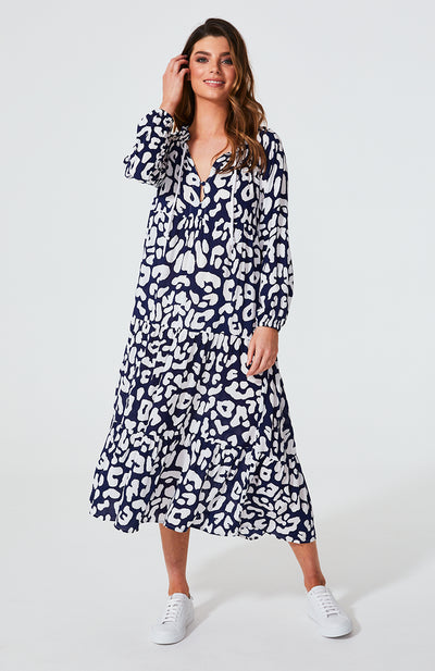 Cali Rope Maxi Dress - Navy Leopard | Shop Cartel & Willow at IKON in Arrowtown, NZ