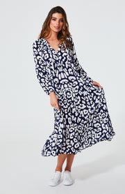 Cali Rope Maxi Dress - Navy Leopard
