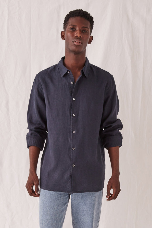 Casual Long Sleeve Shirt True Navy | Shop Assembly Label at IKON