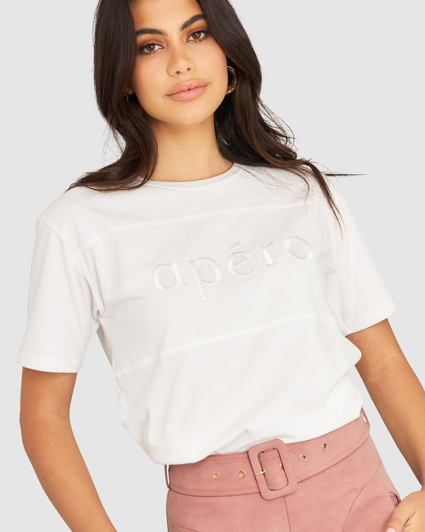 Classic Apero Embroidered Tee - White