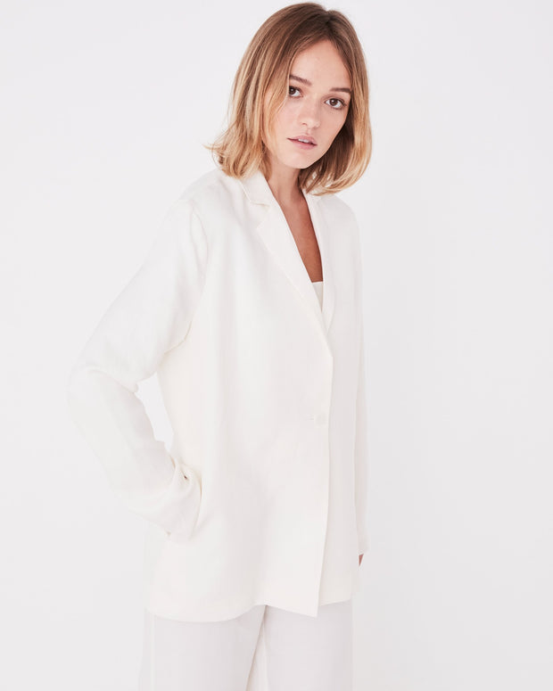 Womens Column Blazer - Vintage White