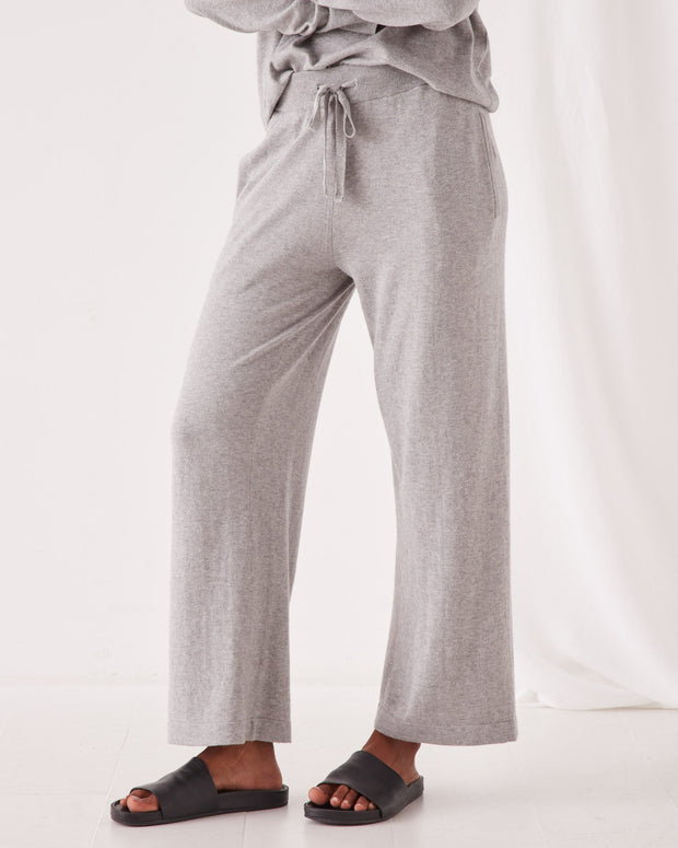Womens Cotton Cashmere Wide Leg Pant - Grey Marle