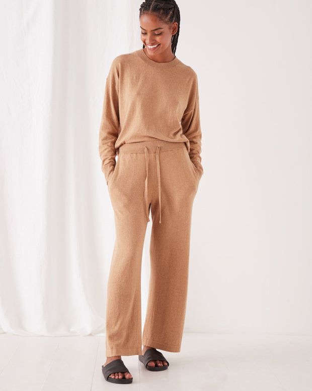 Womens Cotton Cashmere Wide Leg Pant - Taupe
