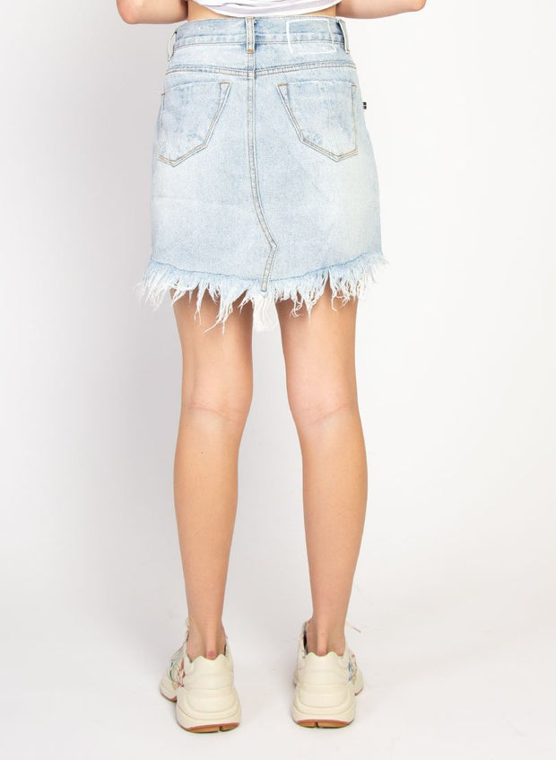 Distressed Welcome Skirt - Washed Blue