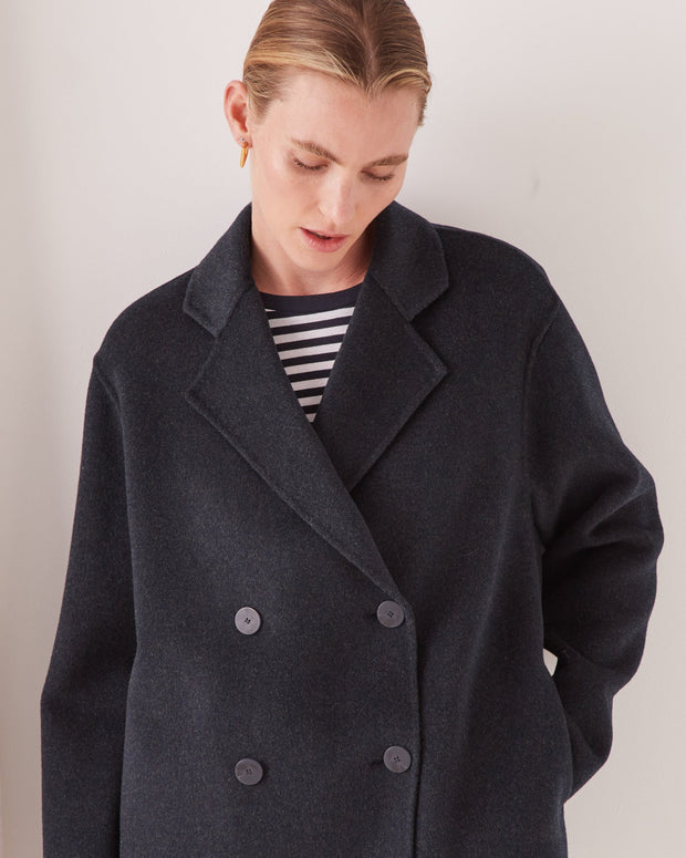 Double Breasted Wool Jacket - True Navy