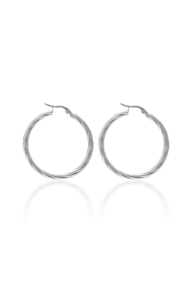 Get Twisted Hoop - Silver | Shop Silk and Steel Jewellery at IKON