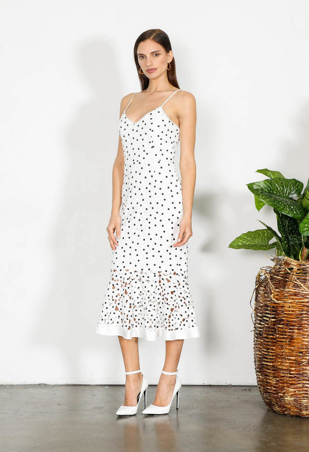 Shilla Element Flora Lace Midi Dress - White
