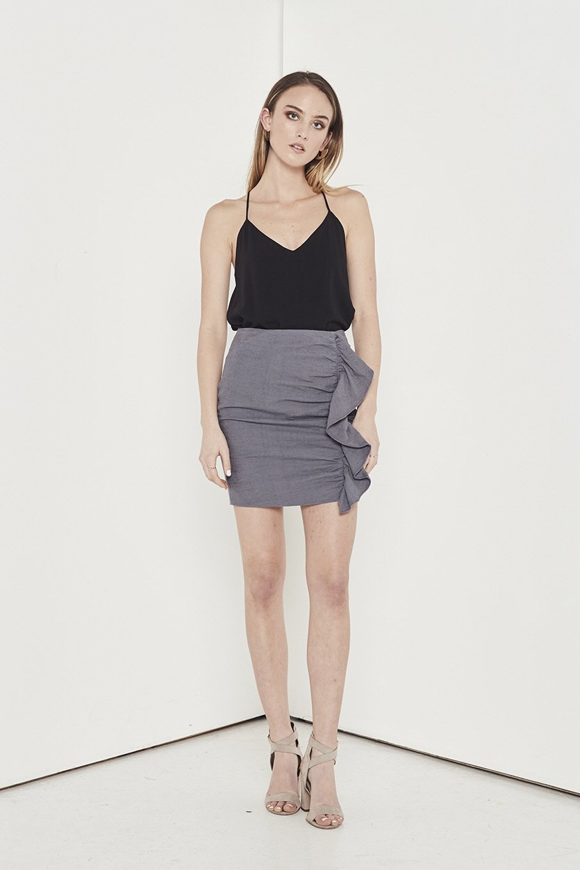 Shilla Empire Skirt - Grey