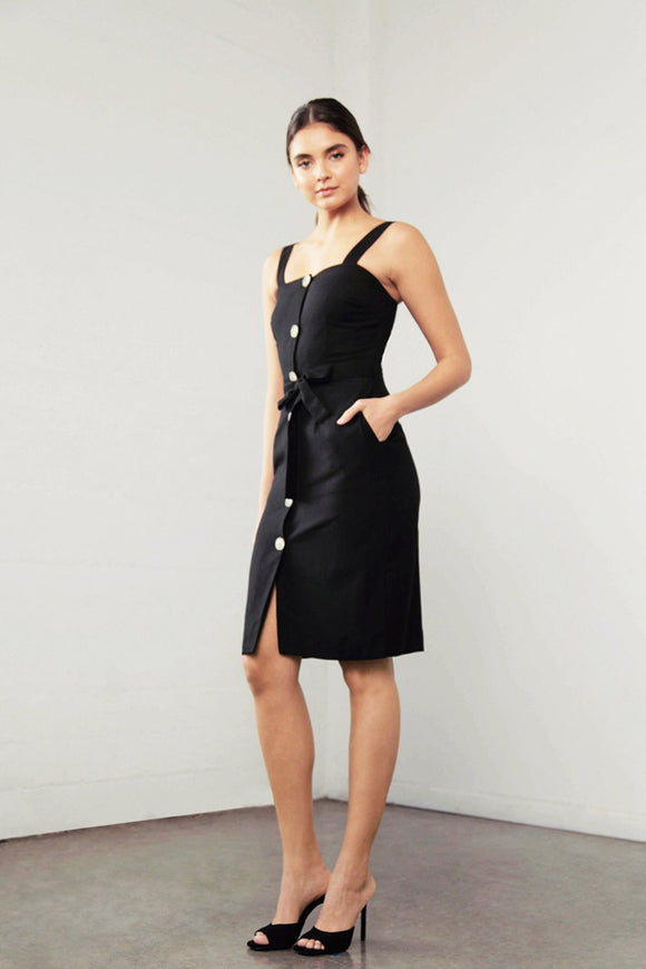 Shilla Enchant Linen Dress Black