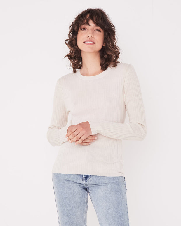 Womens Ella Long Sleeve Knit - Natural