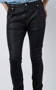 Coated Cuffed Jeans - Black