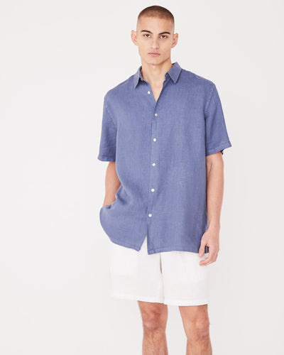 Mens Estate Linen S/S Shirt - Newport Blue