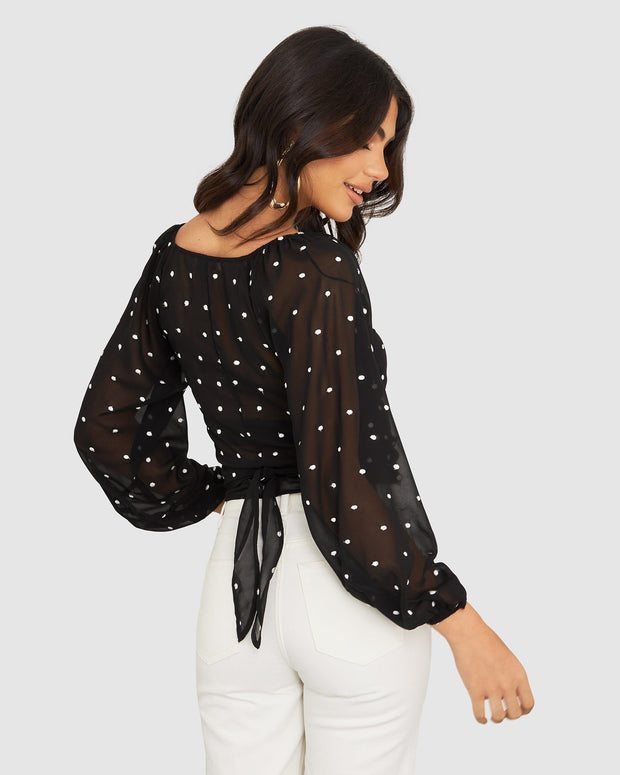 Evie Embroidered Wrap Top - Black/White Spot