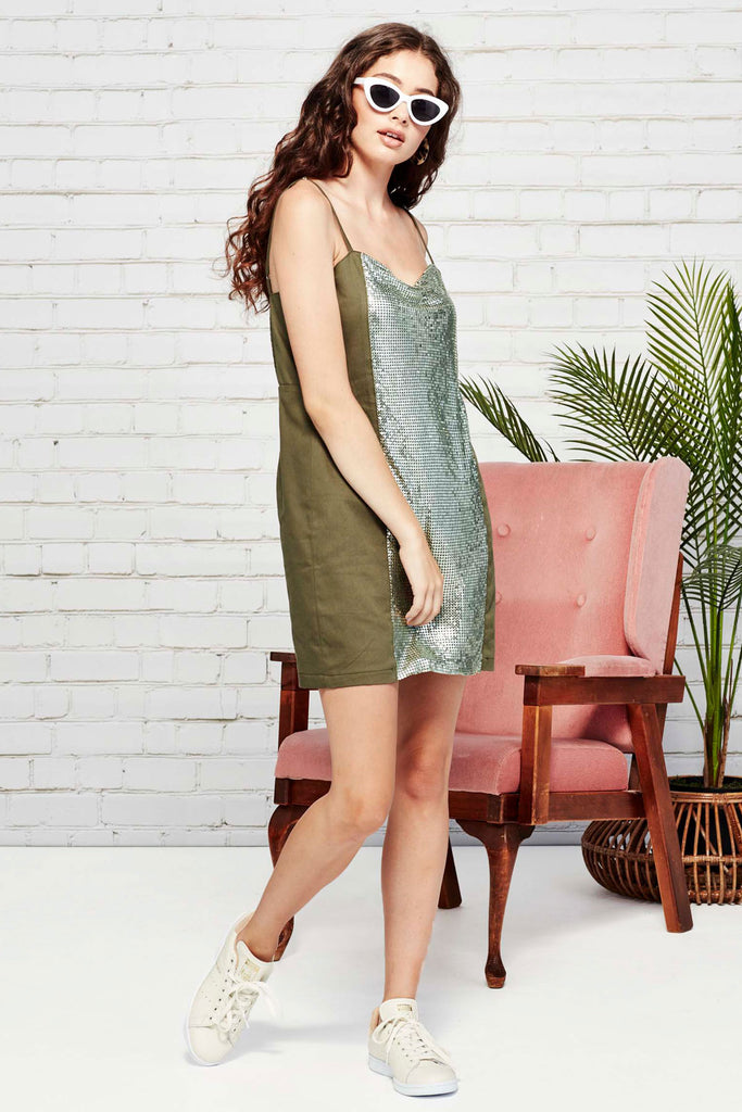 Coop Precious Metal Dress Khaki