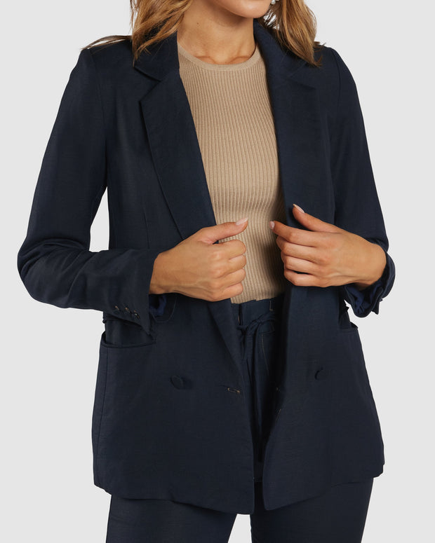 Freedom Linen Blazer - Navy/Tan