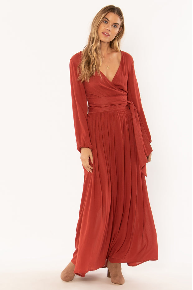Fresca LS Maxi Woven Dress - Rouge | Amuse Society at IKON NZ