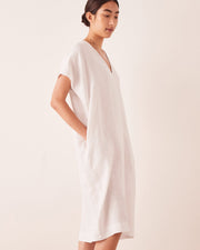 Womens Freya Linen Dress - Silver Grey