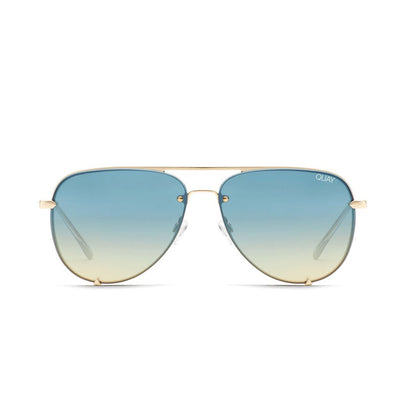 High Key Rimless - Gold/Blue Turquoise | Shop Quay at IKON NZ