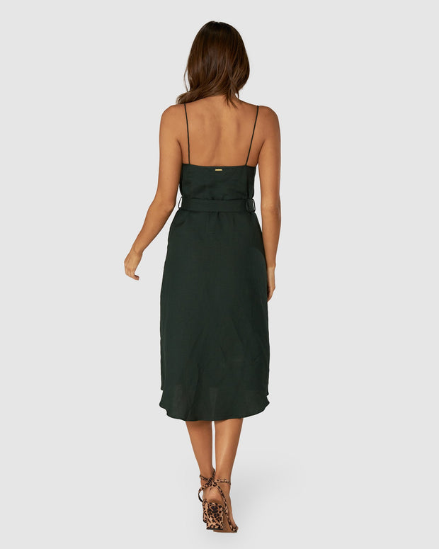 Giselle Linen Midi Dress - Emerald