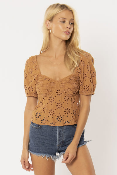 Golden Light SS Woven Top - Mocha | Amuse Society at IKON NZ