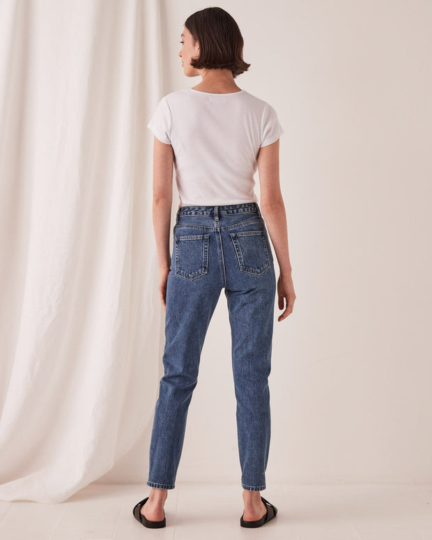 High Waisted Rigid Jean - Vintage Blue