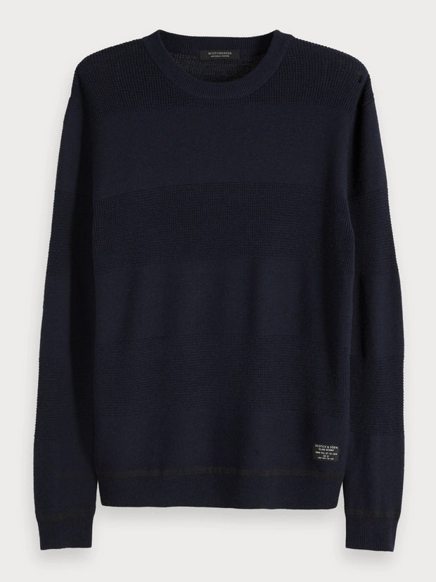 Mens Crew Neck Pullover - Night Melange