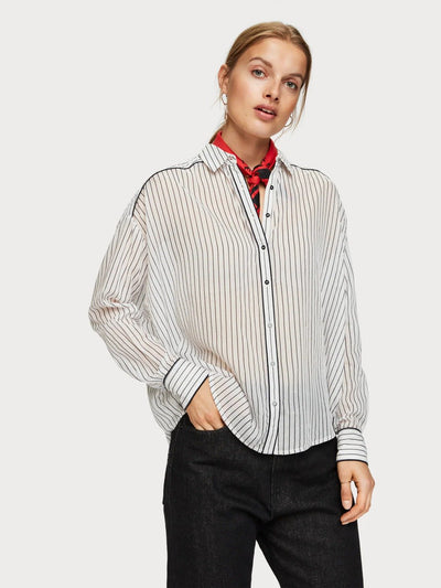Womens Boxy Fit Printed Shirt - White shop online or in store at IKON