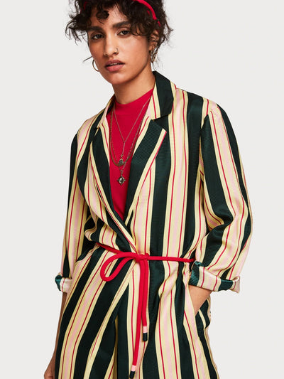 Womens Striped Longline Jacket - Green shop online or in store at IKON
