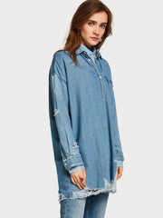 Womens Distressed Denim Shirt - Indigo shop online or in store at IKON