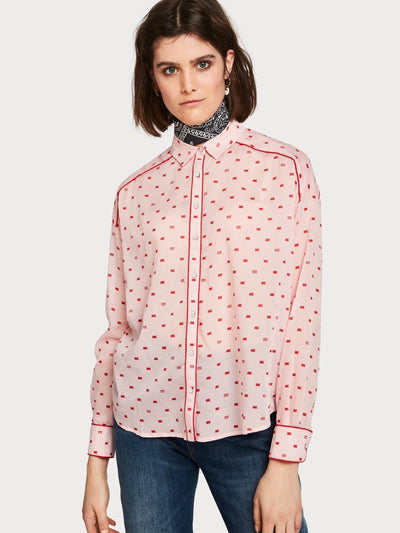 Womens Boxy Fit Printed Shirt - Pink shop online or in store at IKON