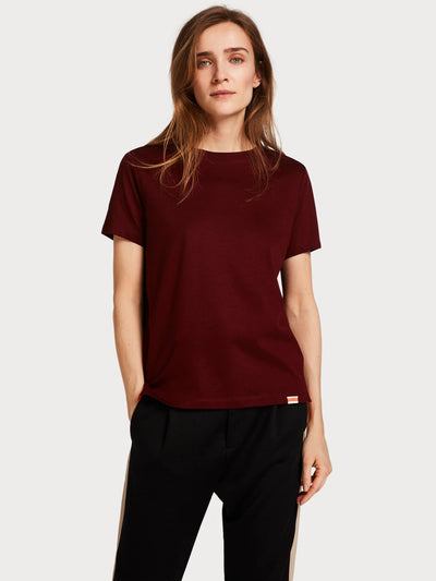 Womens Basic Cotton Blend T-Shirt - Nomade Red shop online or in store at IKON