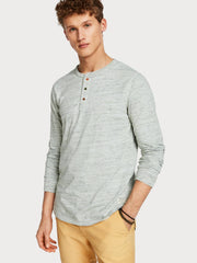 Scotch and Soda Melange Grandad T-Shirt Grey
