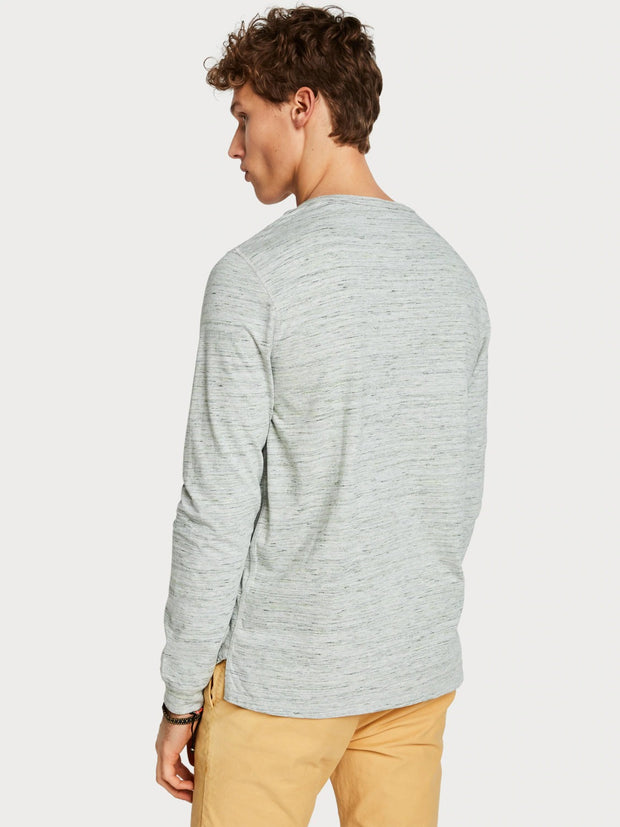 Mens Melange Grandad Top - Grey Melange