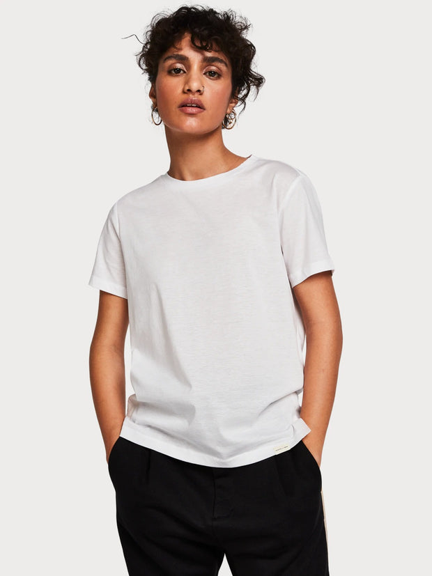 Womens Basic Cotton Blend T-Shirt - White shop online or in store at IKON