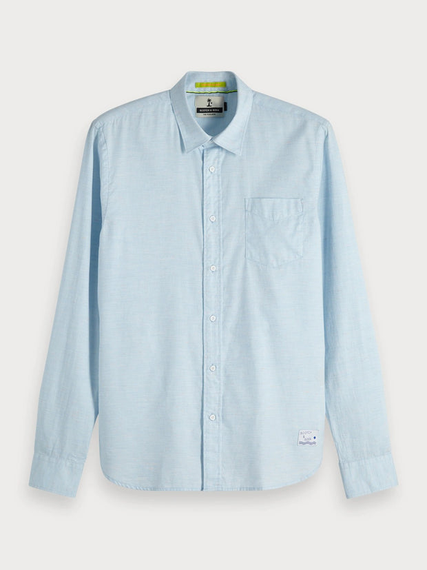 Mens Melange Shirt Regular Fit Blue