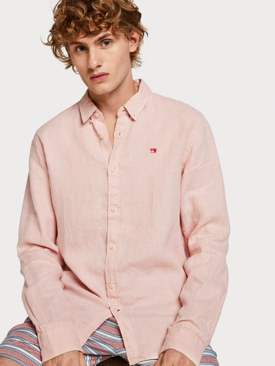 Linen Shirt Regular Fit Faded Pink