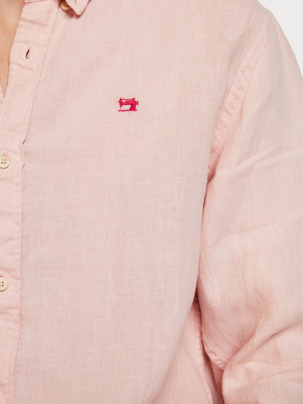 Mens Linen Shirt Regular Fit - Faded Pink
