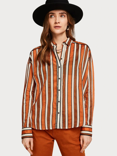 Womens Boxy Fit Printed Shirt - Orange shop online or in store at IKON