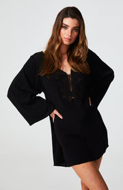 Ida Embroidered Kaftan Dress - Black